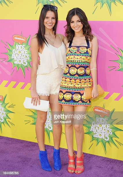 Madison Justice and sister actress Victoria Justice arrive at Nickelodeon's 26th Annual Kids' Choice Awards at USC Galen Center on March 23 2013 in...