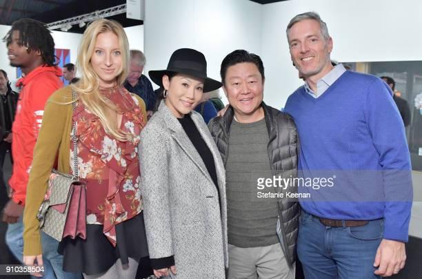Madison Kaplan Mira Lee Brian Lee and Randall Kaplan at OPENING NIGHT   ART LOS ANGELES CONTEMPORARY 9TH EDITION at Barkar Hangar on January 25 2018...