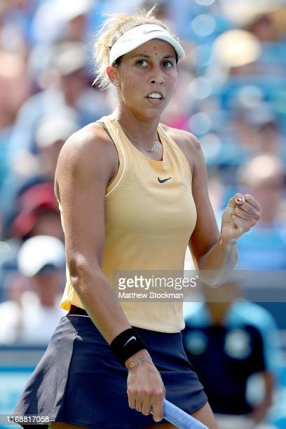 Madison Keys celebrates breaking Svetlana Kuznetsova of Russia during the women's final of the Western Southern Open at Lindner Family Tennis Center...