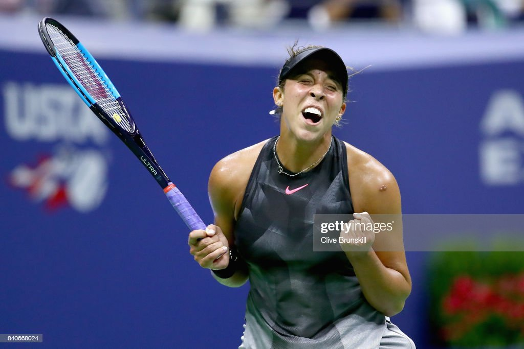Madison Keys celebrates match point against Elise Mertens of Belgium on Day Two of the 2017 US Open at the USTA Billie Jean King National Tennis Center on August 29, 2017 in the Flushing neighborhood of the Queens borough of New York City.