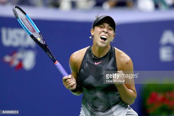 Madison Keys celebrates match point against Elise Mertens of Belgium on Day Two of the 2017 US Open at the USTA Billie Jean King National Tennis...