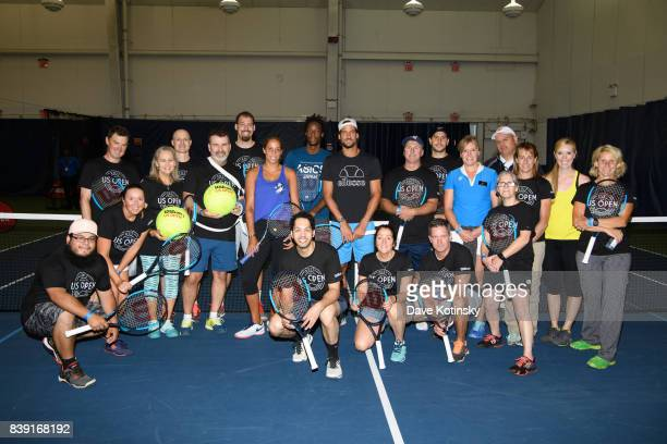 Madison Keys Feliciano Lopez and Gael Monfils surprise and join unsuspecting fans for A few games on court fans at Arthur Ashe Stadium on August 25...