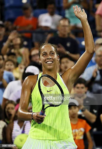 Madison Keys of the United States acknowledges the crowd after defeating Kayla Day of the United States during her second round Women's Singles match...
