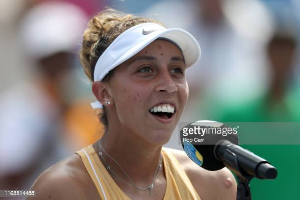 Madison Keys of the United States addresses the crowd after defeating Svetlana Kuznetsova of Russia to win the Women's Final of the Western and...