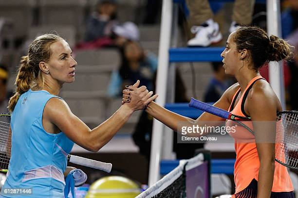 Madison Keys of the United States and Svetlana Kuznetsova of Russia shake hands after their Women's singles third round match on day five of the 2016...