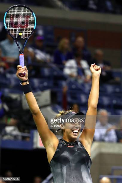 Madison Keys of the United States celebrates after defeating CoCo Vandeweghe of the United States in her Women's Singles Semifinal match on Day...