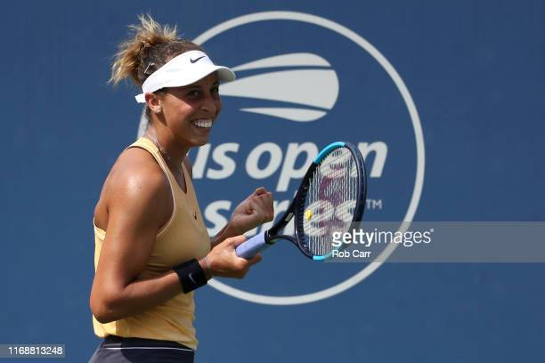 Madison Keys of the United States celebrates after defeating Svetlana Kuznetsova of Russia during the Women's Final of the Western and Southern Open...