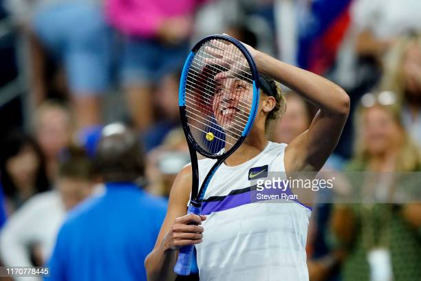 Madison Keys of the United States celebrates after her Women's Singles second round match against Lin Zhu of China on day three of the 2019 US Open...