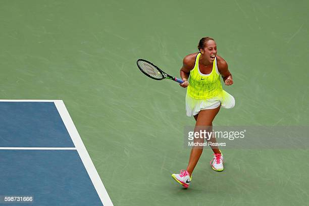 Madison Keys of the United States celebrates her victory over Naomi Osaka of Japan during her third round Women's Singles match on Day Five of the...