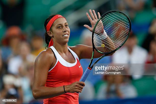 Madison Keys of the United States celebrates her win against Aleksandra Krunic of Serbia during day one of the Bank of the West Classic at the...