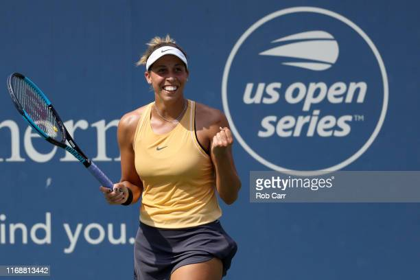 Madison Keys of the United States celebrates match point after defeating Svetlana Kuznetsova of Russia during the Women's Final of the Western and...