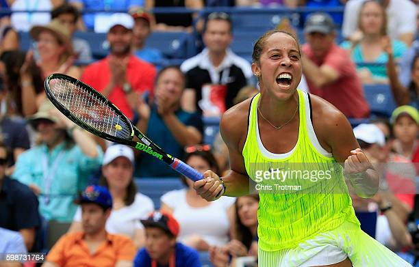 Madison Keys of the United States celebrates match point against Naomi Osaka of Japan during their third round Women's Singles match on Day Five of...