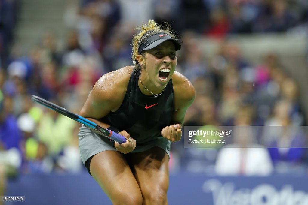 Madison Keys of the United States celebrates match point against Elena Vesnina of Russia during their third round Women's Singles match on Day Six of the 2017 US Open at the USTA Billie Jean King National Tennis Center on September 2, 2017 in the Flushing neighborhood of the Queens borough of New York City.