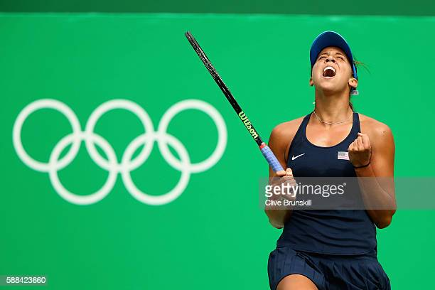 Madison Keys of the United States celebrates match point during the women's singles quarterfinal match against Daria Kasatkina of Russia on Day 6 of...