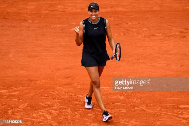Madison Keys of The United States celebrates victory during her ladies singles fourth round match against Katerina Siniakova of The Czech Republic...