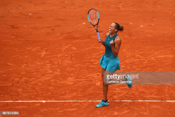 Madison Keys of The United States celebrates victory during her ladies singles quarter finals match against Yulia Putintseva of Kazhakstan during day...
