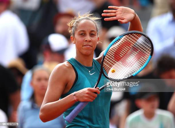Madison Keys of The United States celebrates victory during the ladies singles second round match against Caroline Dolehide of The United States...