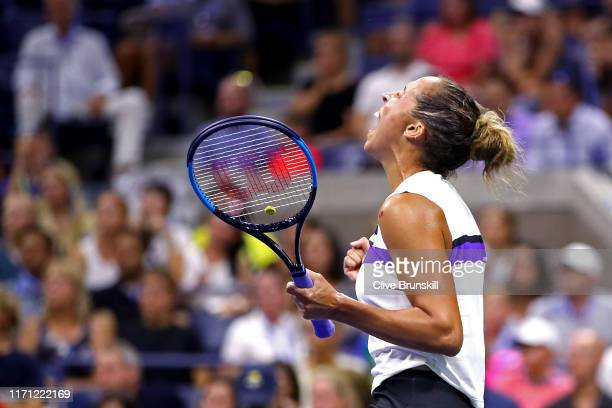 Madison Keys of the United States celebrates victory following her Women's Singles third round match against Sofia Kenin of the United States on day...