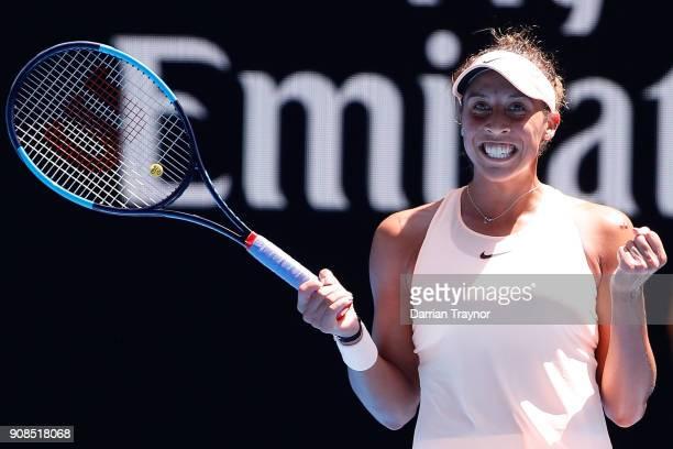 Madison Keys of the United States celebrates winning her fourth round match against Caroline Garcia of France on day eight of the 2018 Australian...