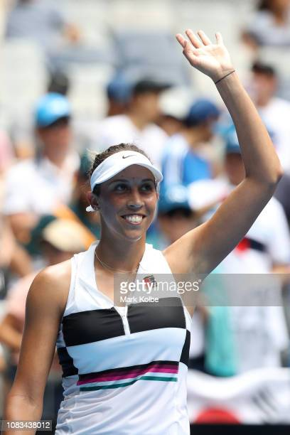 Madison Keys of the United States celebrates winning her second round match against Anastasia Potapova of Russia during day four of the 2019...