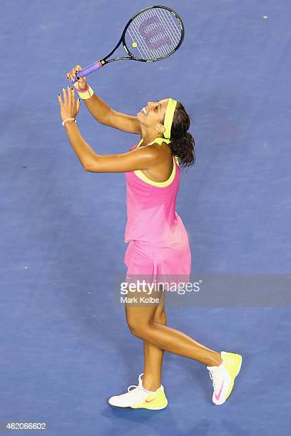 Madison Keys of the United States celebrates winning her third round match against Petra Kvitova of the Czech Republi during day six of the 2015...