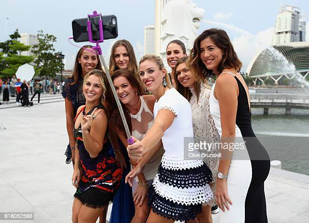 Madison Keys of the United States Dominika Cibulkova of Slovakia Karolina Pliskova of Czech Republic Agnieszka Radwanska of Poland Johanna Konta of...