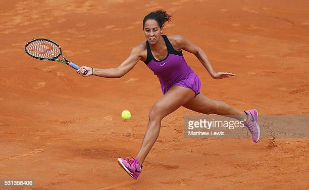 Madison Keys of the United States in action against Garbine Muguruza of Spain during day seven of The Internazionali BNL d'Italia 2016 on May 14 2016...