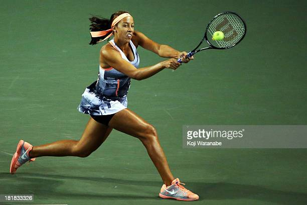 Madison Keys of the United States in action during her women's singles third round match against Petra Kvitova of Czech Republic during day five of...