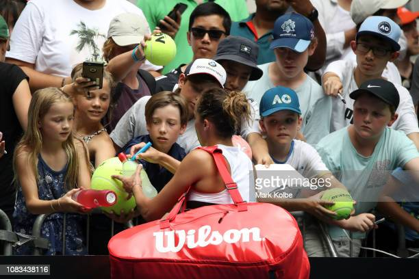 Madison Keys of the United States interacts with fans after winning her second round match against Anastasia Potapova of Russia during day four of...