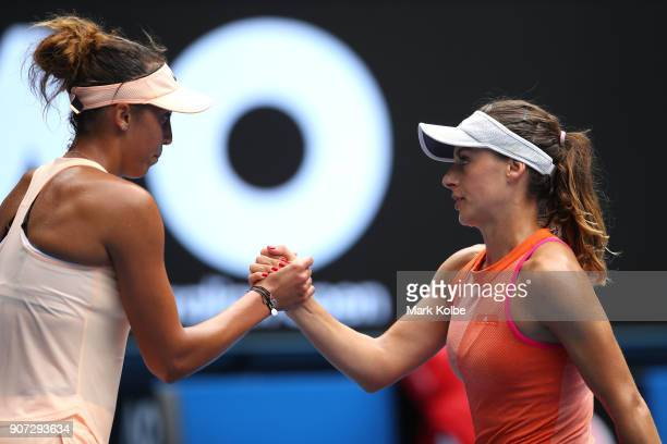 Madison Keys of the United States is congratulated by Ana Bogdan of Romania after their third round match on day six of the 2018 Australian Open at...