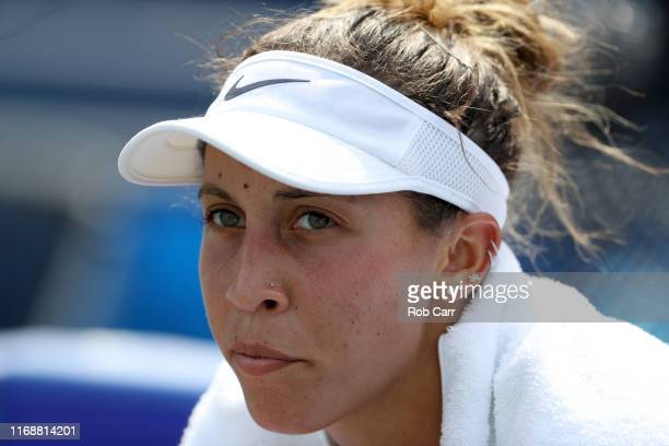 Madison Keys of the United States looks on after defeating Svetlana Kuznetsova of Russia to win the Women's Final of the Western and Southern Open at...