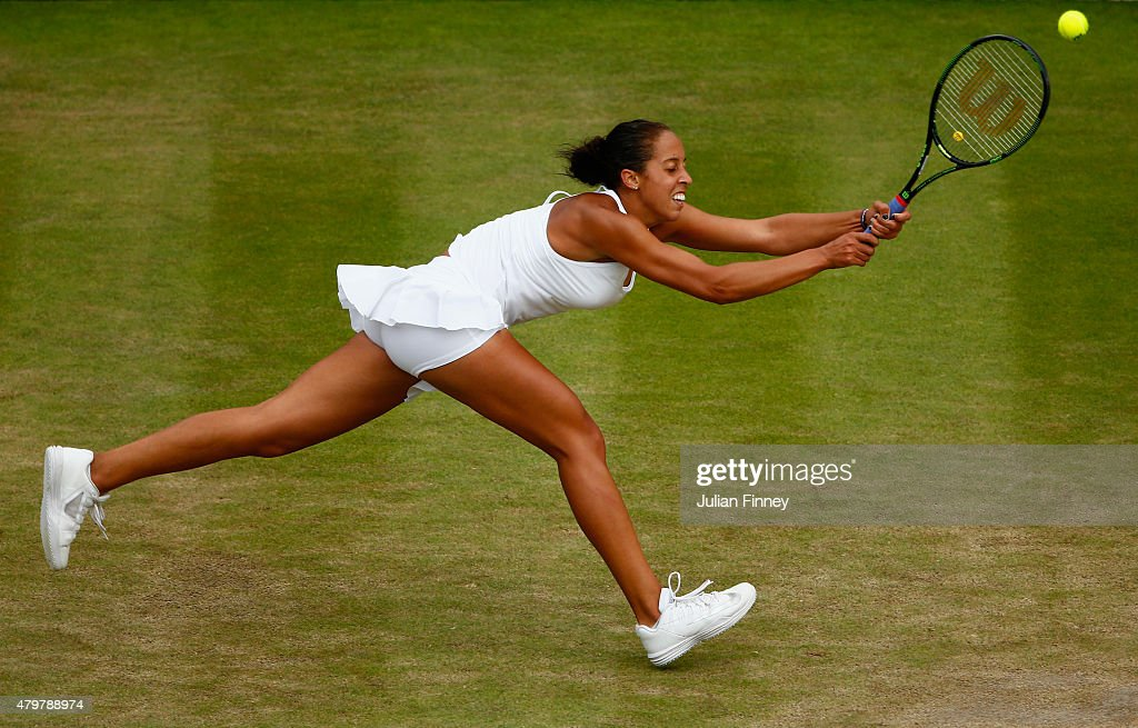 Madison Keys of the United States plays a backhand during her Ladies Singles Quarter Final match against Agnieszka Radwanska of Poland during day eight of the Wimbledon Lawn Tennis Championships at the All England Lawn Tennis and Croquet Club on July 7, 2015 in London, England.