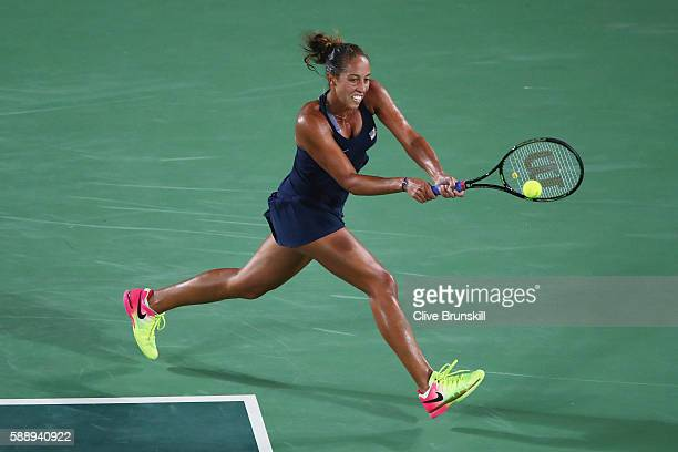 Madison Keys of the United States plays a backhand during the women's singles semifinal match against Angelique Kerber of Germany on Day 7 of the Rio...