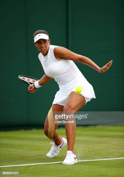 Madison Keys of the United States plays a forehand during the Ladies Singles first round match on day one of the Wimbledon Lawn Tennis Championships...