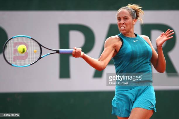 Madison Keys of The United States plays a forehand during the ladies singles second round match against Caroline Dolehide of The United States during...