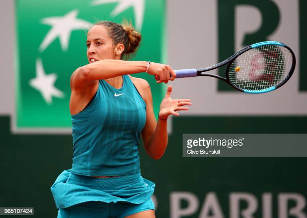 Madison Keys of The United States plays a forehand during the ladies singles second round match against Naomi Osaka of Japan during day six of the...