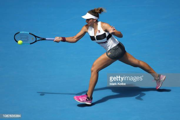Madison Keys of the United States plays a forehand in her first round match against Destanee Aiava of Australia during day two of the 2019 Australian...