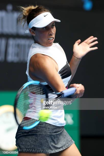 Madison Keys of the United States plays a forehand in her second round match against Anastasia Potapova of Russia during day four of the 2019...