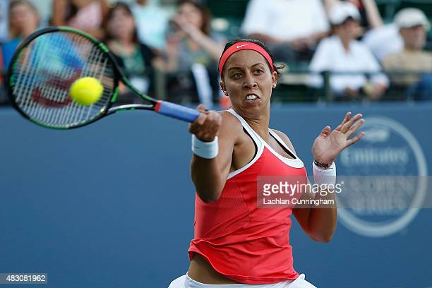 Madison Keys of the United States plays against Ajla Tomljanovic of Croatia during day three of the Bank of the West Classic at the Stanford...