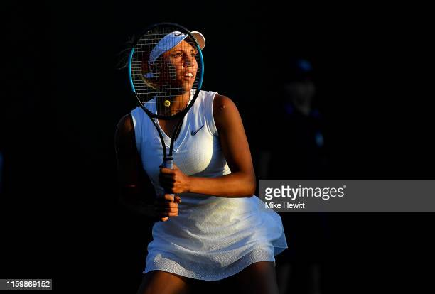 Madison Keys of The United States prepares to play a shot in her Ladies' Singles second round match against Polona Hercog of Slovenia during Day...