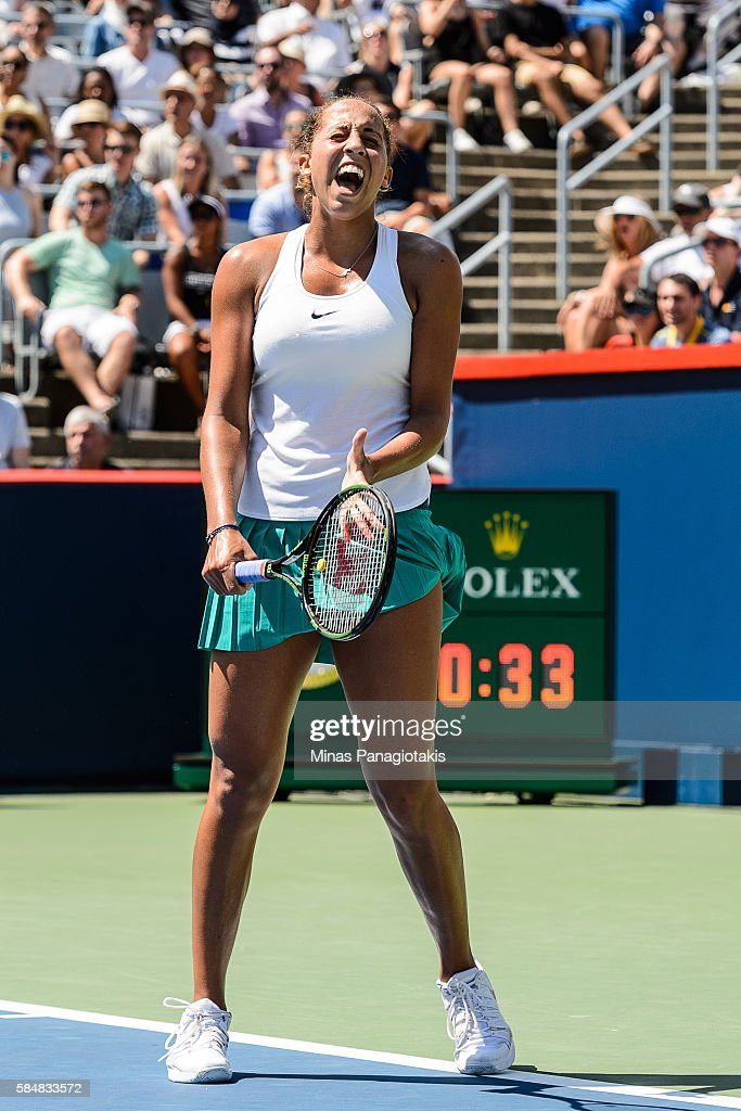 Madison Keys of the United States reacts after losing a point against Simona Halep of Romania during day seven in final round action of the Rogers Cup at Uniprix Stadium on July 31, 2016 in Montreal, Quebec, Canada.
