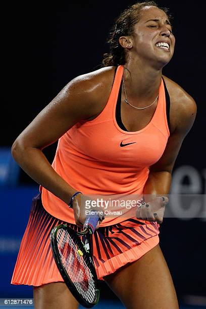 Madison Keys of the United States reacts after losing a point against Svetlana Kuznetsova of Russia during her Women's singles third round match on...