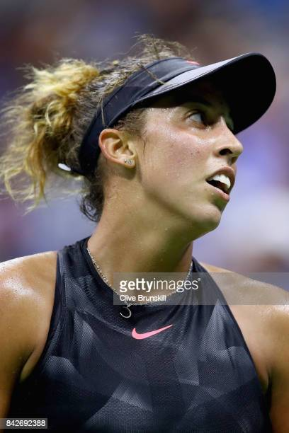 Madison Keys of the United States reacts against Elina Svitolina of Ukraine during their women's singles fourth round match on Day Eight of the 2017...