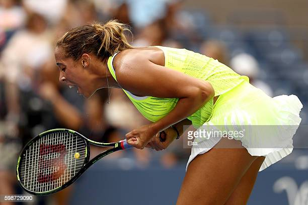 Madison Keys of the United States reacts against Naomi Osaka of Japan during her third round Women's Singles match on Day Five of the 2016 US Open at...