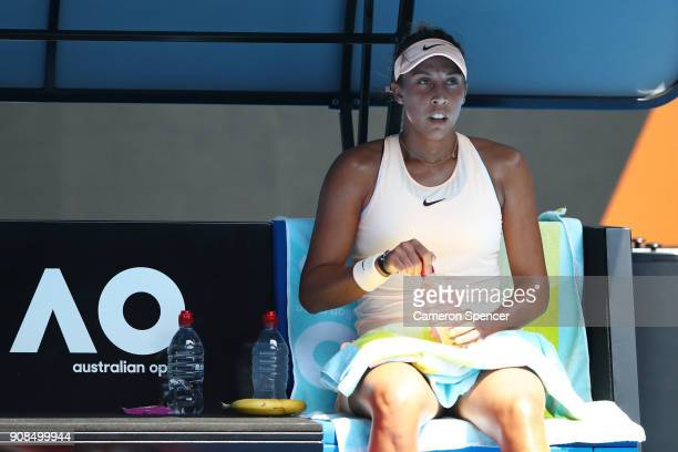 Madison Keys of the United States rests between games in her fourth round match against Caroline Garcia of France on day eight of the 2018 Australian...
