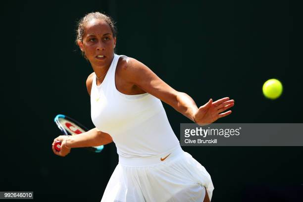 Madison Keys of the United States returns a shot against Evgeniya Rodina of Russia during their Ladies' Singles third round match on day five of the...