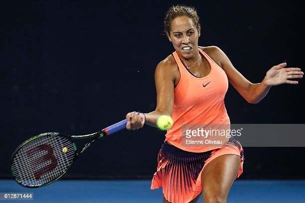 Madison Keys of the United States returns a shot against Svetlana Kuznetsova of Russia during her Women's singles third round match on day five of...