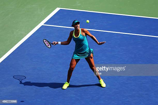 Madison Keys of the United States returns a shot against Tereza Smitkova of Czech Republic during their Women's Singles Second Round match on Day...