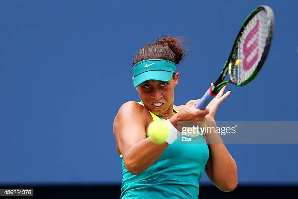 Madison Keys of the United States returns a shot against Tereza Smitkova of the Czech Republic during their Women's Singles Second Round match on Day...