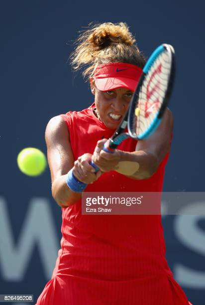Madison Keys of the United States returns a shot to Lesia Tsurenko of the Ukraine during their quarterfinal match on Day 5 of the Bank of the West...